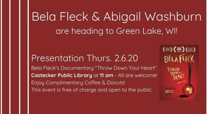 "Presentation of Bela Fleck's Documentary, ""Throw Down Your Heart"" @ Caestecker Public Library 