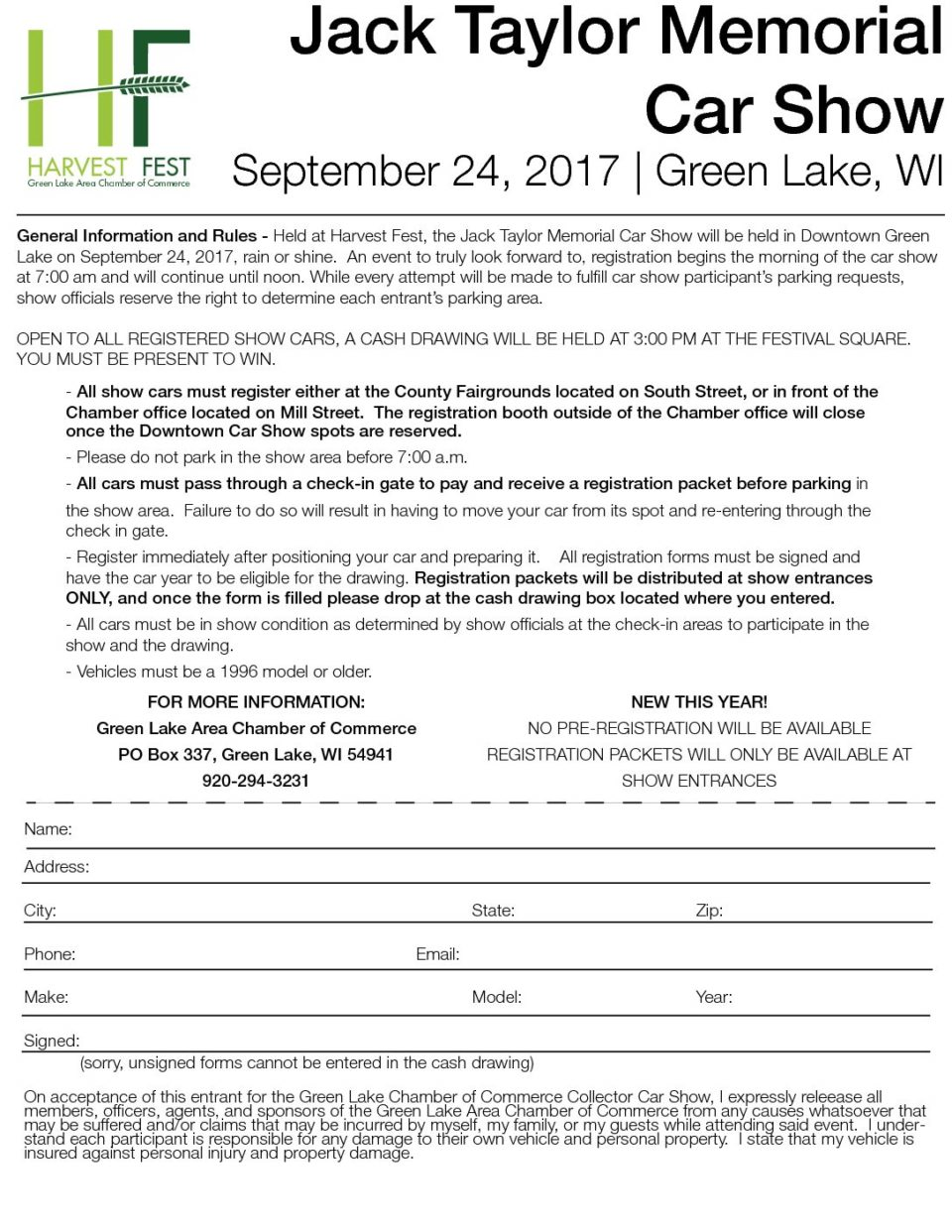Car Show Registration 2017 | GLACC