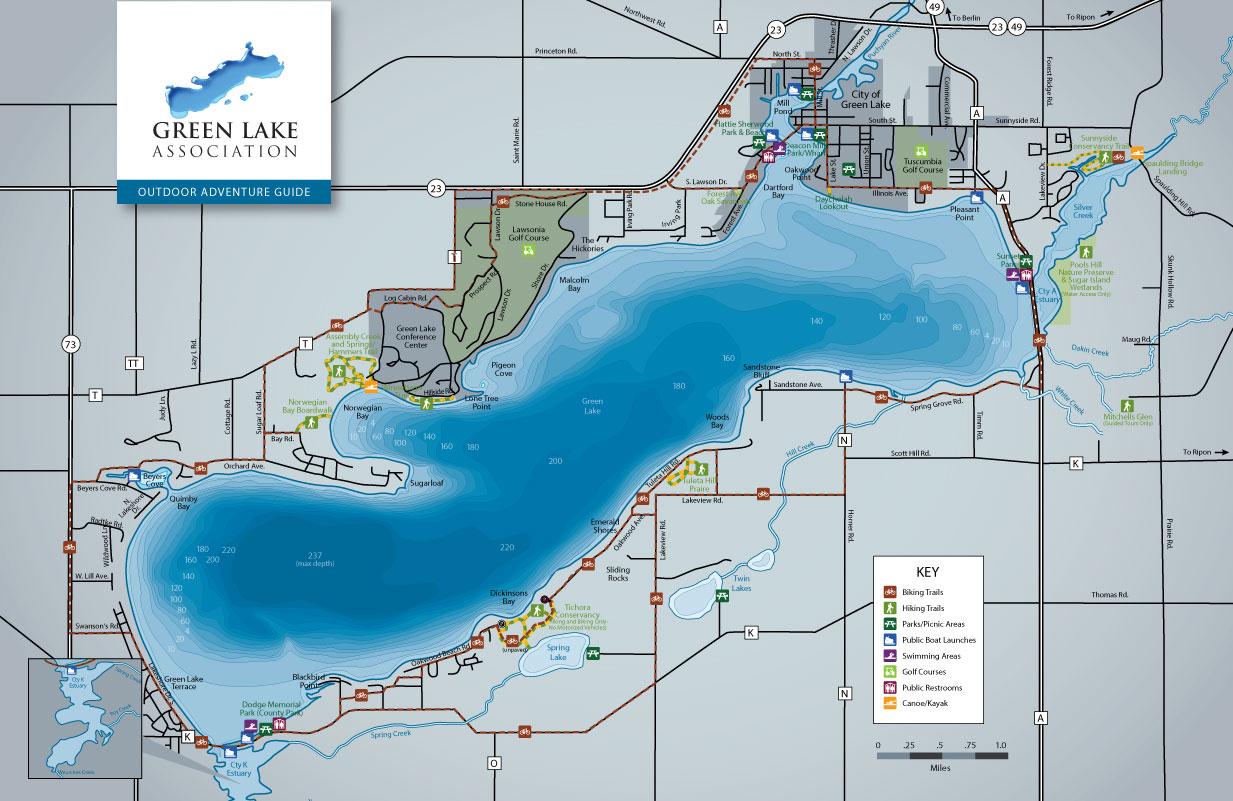 green lake wi map Wisconsin Bike Trails Hiking In Wisconsin Green Lake Wi green lake wi map